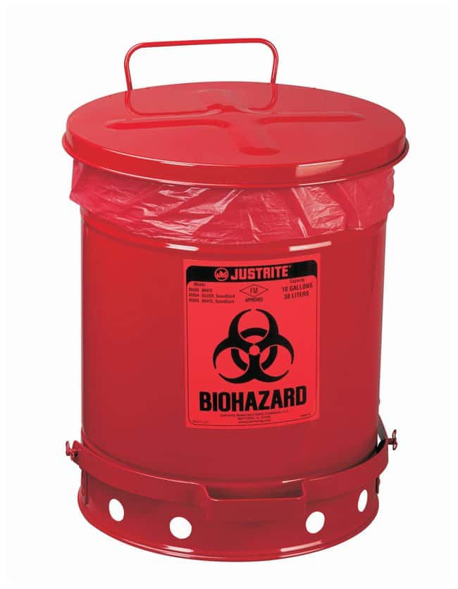 Justrite Biohazard Waste Cans with Foot-operated Self-closing Cover :Gloves,