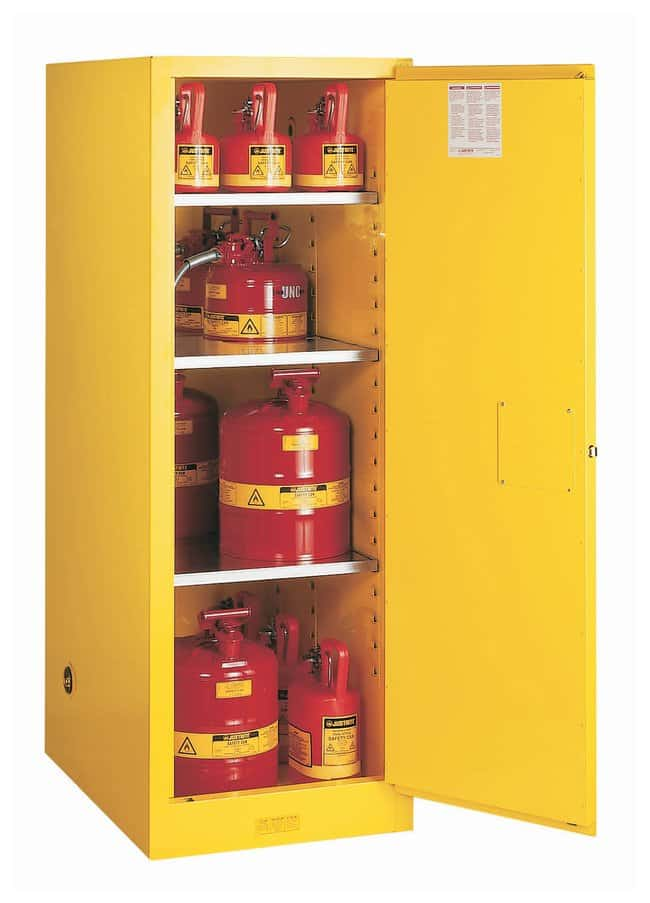 Justrite™54 Gallon Sure-Grip™ EX Deep Slimline Flammable Safety Cabinet With Manual-Closing Doors 54 Gallon, Manual-Close, Yellow Justrite™54 Gallon Sure-Grip™ EX Deep Slimline Flammable Safety Cabinet With Manual-Closing Doors