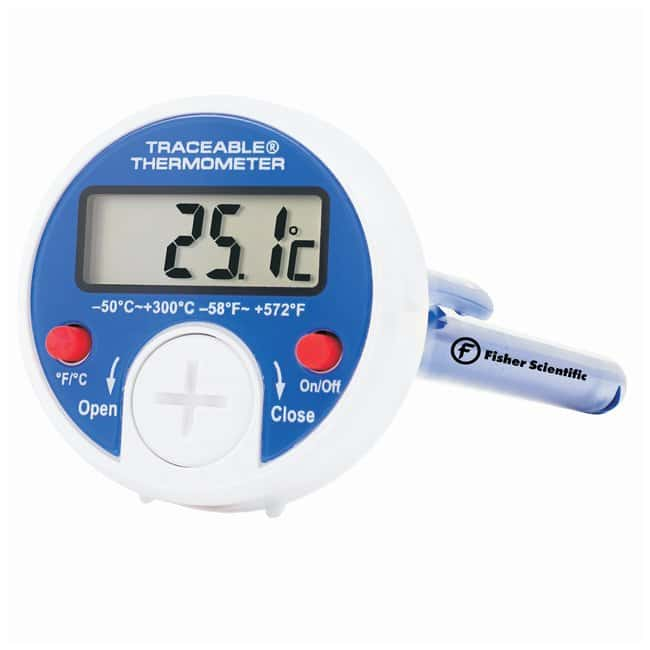 Fisherbrand™ Traceable™ Digital Dial Thermometer deg. F/ deg. C scale; Range: -58 to 572  deg. F and -50 to 300  deg. C Fisherbrand™ Traceable™ Digital Dial Thermometer