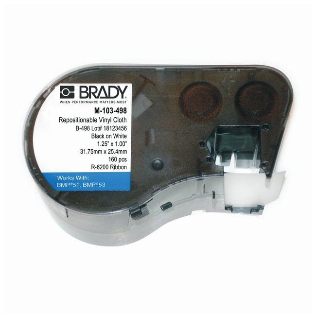 Brady™BMP™50 Series Printable Repositionable Vinyl Cloth Labels Size: 1 x 1.25 in.; 160 labels Brady™BMP™50 Series Printable Repositionable Vinyl Cloth Labels