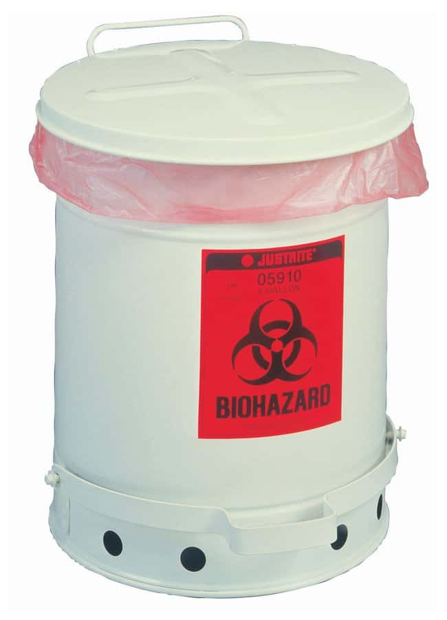 Justrite Biohazard Waste Can, Foot-Operated Self-Closing SoundGard Cover