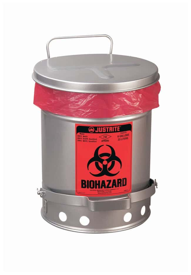 Justrite 10 Gallon Biohazard Waste Can, Foot-Operated Self-Closing SoundGard