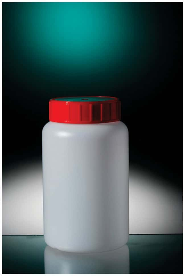 Corning™Assembled HDPE Round Bottles, Red Cap with Wad