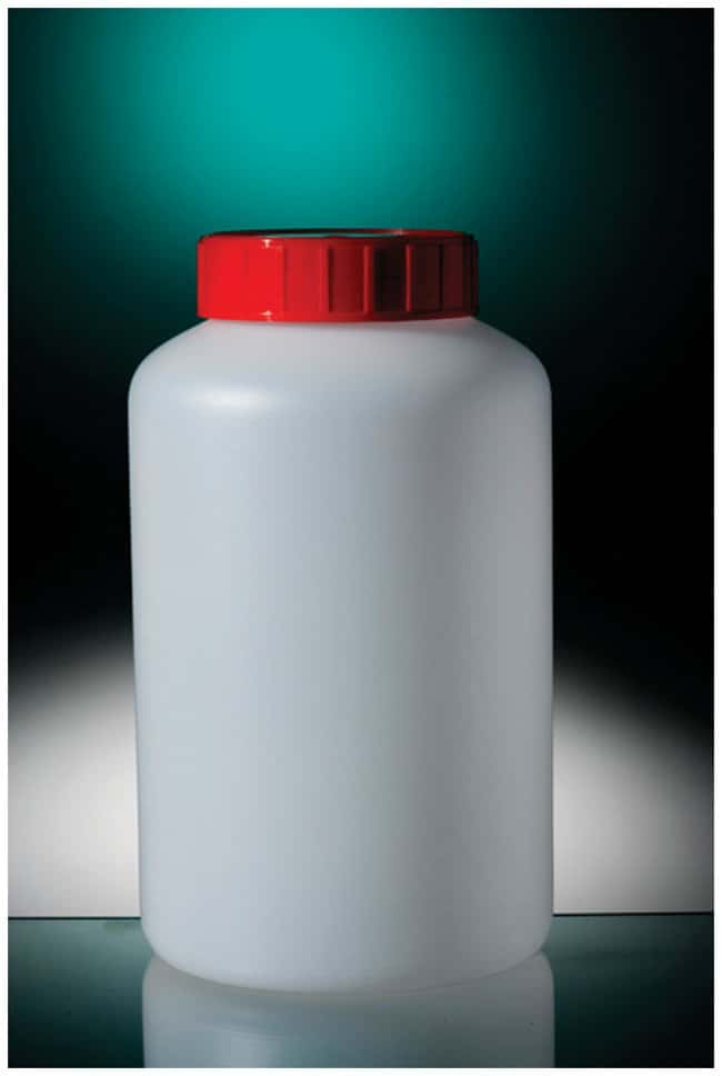 Corning™ Assembled HDPE Round Bottles, Red Cap with Wad