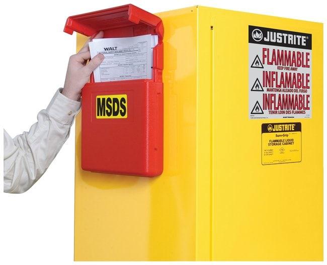 Justrite™Document Storage Boxes Medium top opening; Lock hole dia.: 0.25 in. Bins