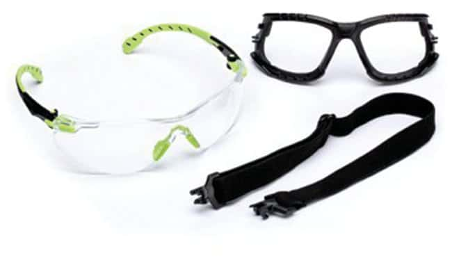 3M Solus 1000 Series Safety Glasses Elastic strap; Removable foam gasket;