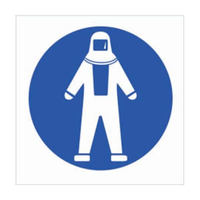 Brady RTK Pictogram Labels, Full Protection Suit:Gloves, Glasses and Safety:Facility