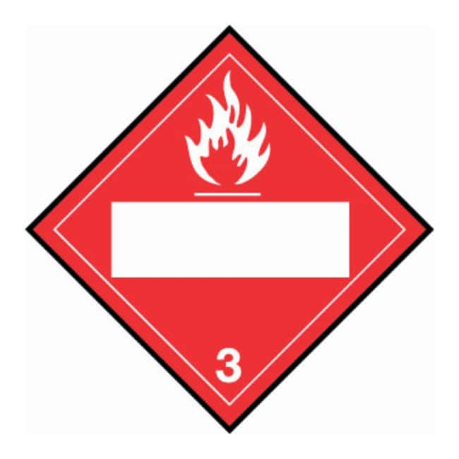 Brady DOT Standard Placards: (Flammable Picto w/Blank Box) 3:Gloves, Glasses
