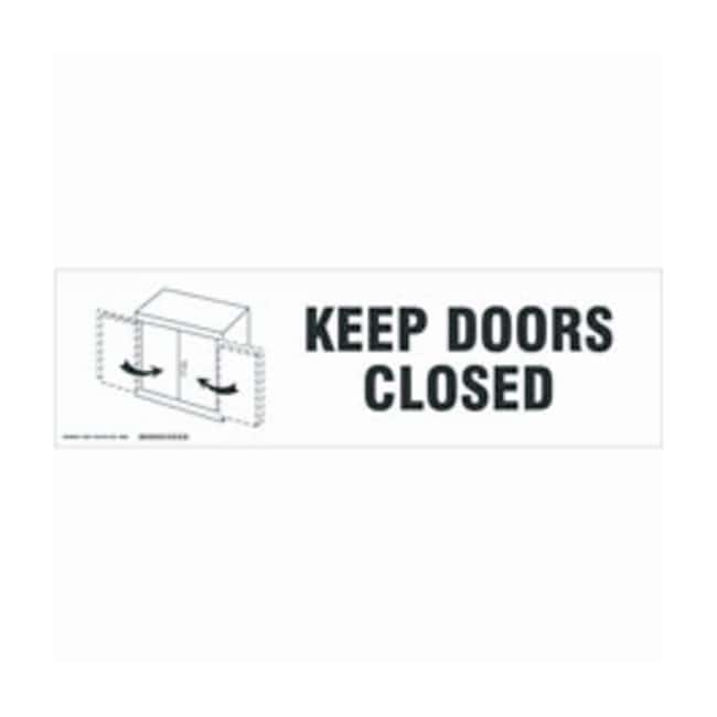Brady Cabinet Labels: KEEP DOORS CLOSED Size: 30.4W x 8.89cm H (12 x 3.5