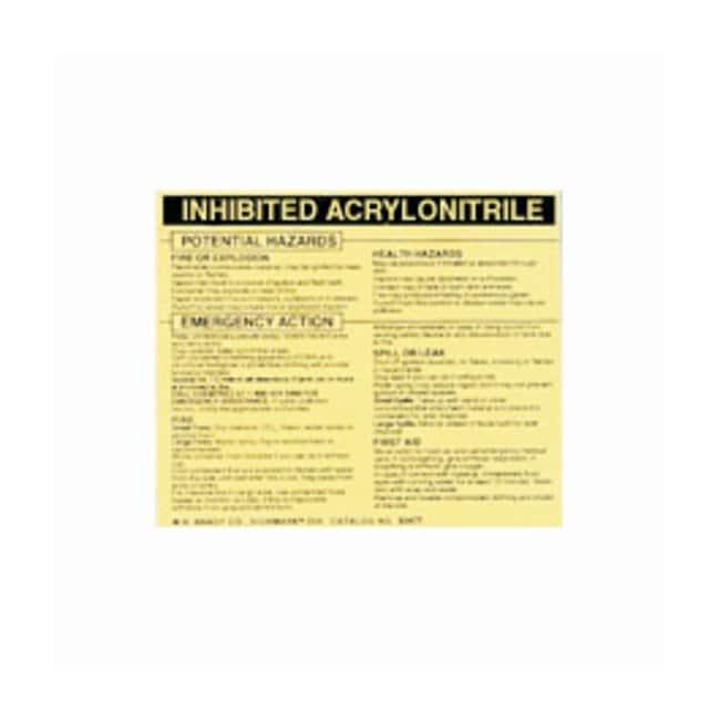 Brady Hazardous Material Label: ACRYLONITRILE, INHIBITED Legend: ACRYLONITRILE,