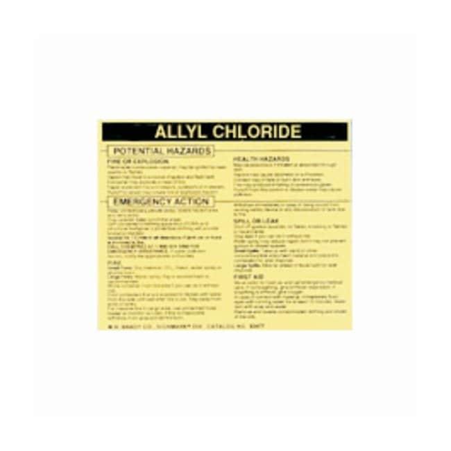 Brady Hazardous Material Label: ALLYL CHLORIDE Legend: ALLYL CHLORIDE:Gloves,