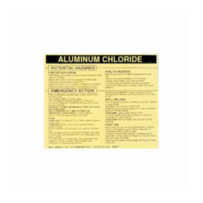 Brady Hazardous Material Label: ALUMINUM CHLORIDE Legend: ALUMINUM CHLORIDE:Gloves,