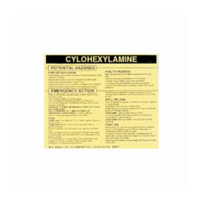 Brady Hazardous Material Label: CYLOHEXYLAMINE Legend: CYLOHEXYLAMINE:Gloves,