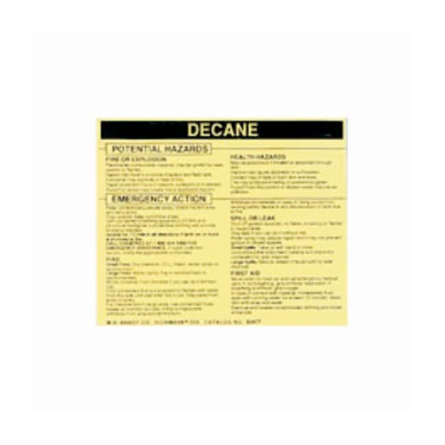 Brady Hazardous Material Label: DECANE Legend: DECANE:Gloves, Glasses and