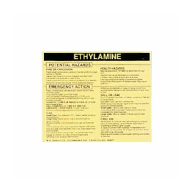 Brady Hazardous Material Label: ETHYLAMINE Legend: ETHYLAMINE:Gloves, Glasses