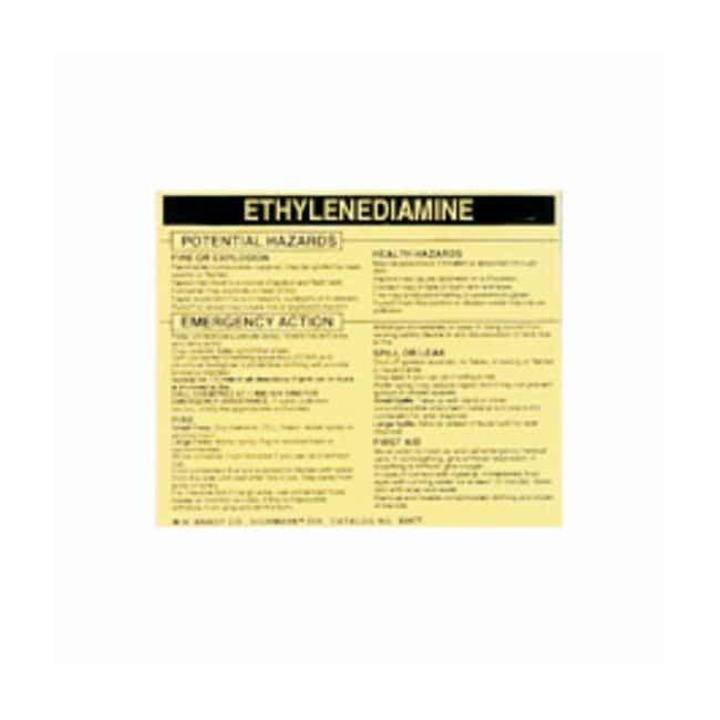 Brady Hazardous Material Label: ETHYLENEDIAMINE Legend: ETHYLENEDIAMINE:Gloves,