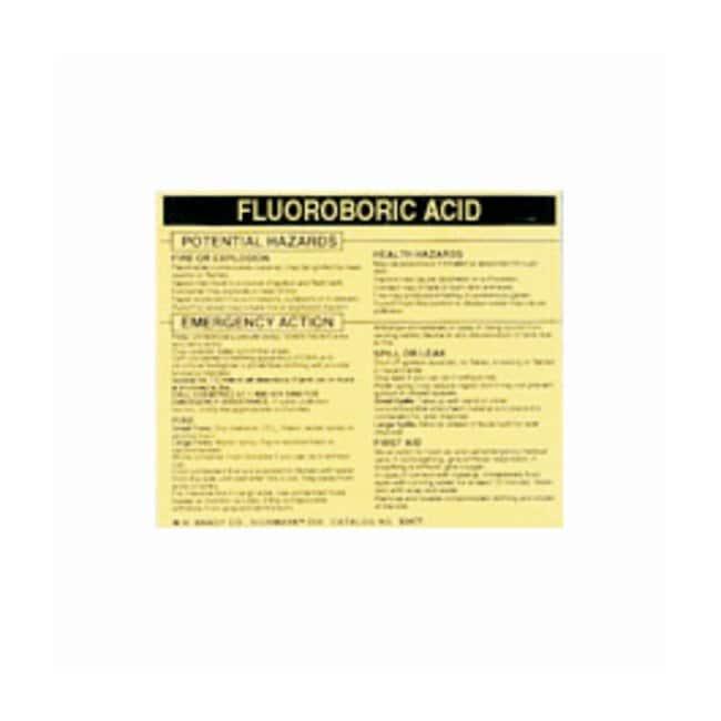 Brady Hazardous Material Label: FLUOROBORIC ACID Legend: FLUOROBORIC ACID:Gloves,