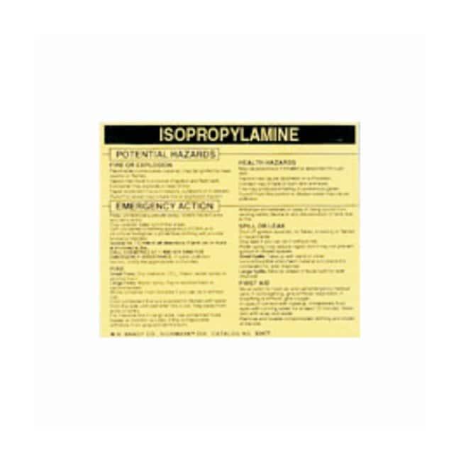 Brady Hazardous Material Label: ISOPROPYLAMINE Legend: ISOPROPYLAMINE:Gloves,