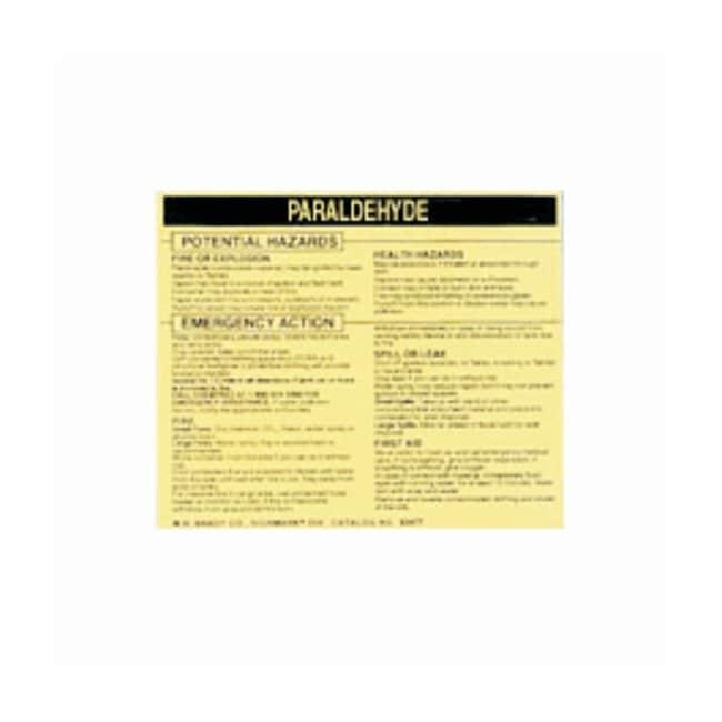 Brady Hazardous Material Label: PARALDEHYDE Legend: PARALDEHYDE:Gloves,
