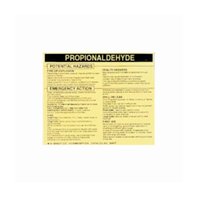 Brady Hazardous Material Label: PROPIONALDEHYDE Legend: PROPIONALDEHYDE:Gloves,