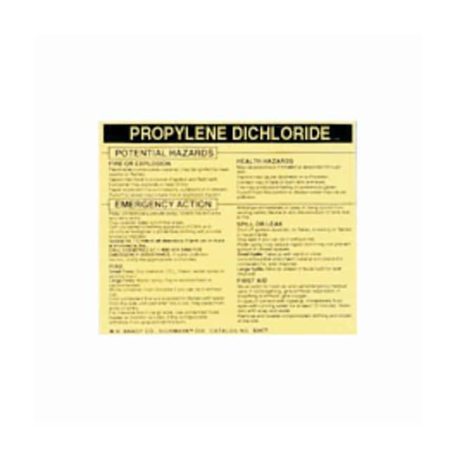 Brady Hazardous Material Label: PROPYLENE DICHLORIDE Legend: PROPYLENE