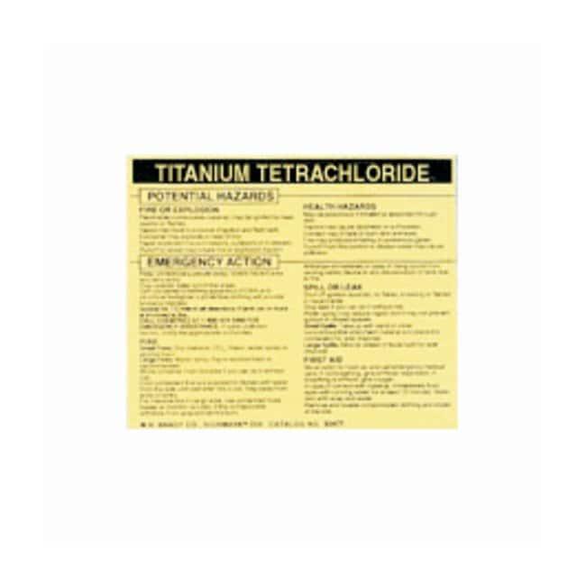 Brady Hazardous Material Label: TITANIUM TETRACHLORIDE Legend: TITANIUM