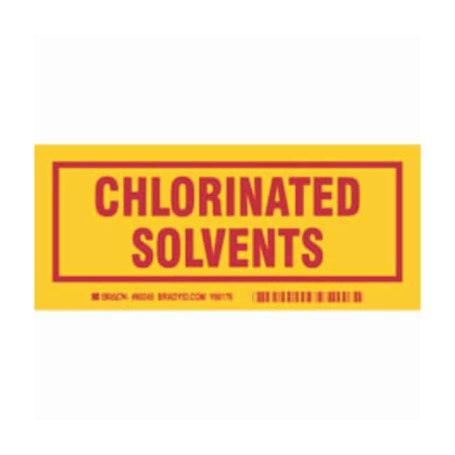 Brady Container Label: CHLORINATED SOLVENTS Legend: CHLORINATED SOLVENTS:Gloves,