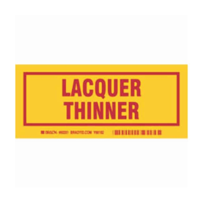 Brady Container Label: LACQUER THINNER Legend: LACQUER THINNER:Gloves,