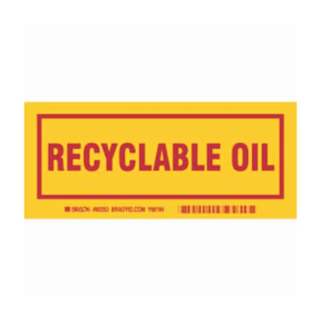 Brady Container Label: RECYCLABLE OIL Legend: RECYCLABLE OIL:Gloves, Glasses