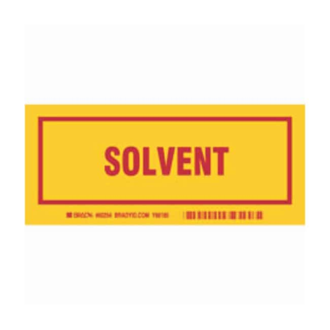 Brady Container Label: SOLVENT Legend: SOLVENT:Gloves, Glasses and Safety