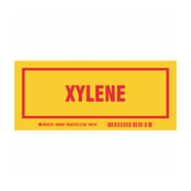 Brady Container Label: XYLENE Legend: XYLENE:Gloves, Glasses and Safety