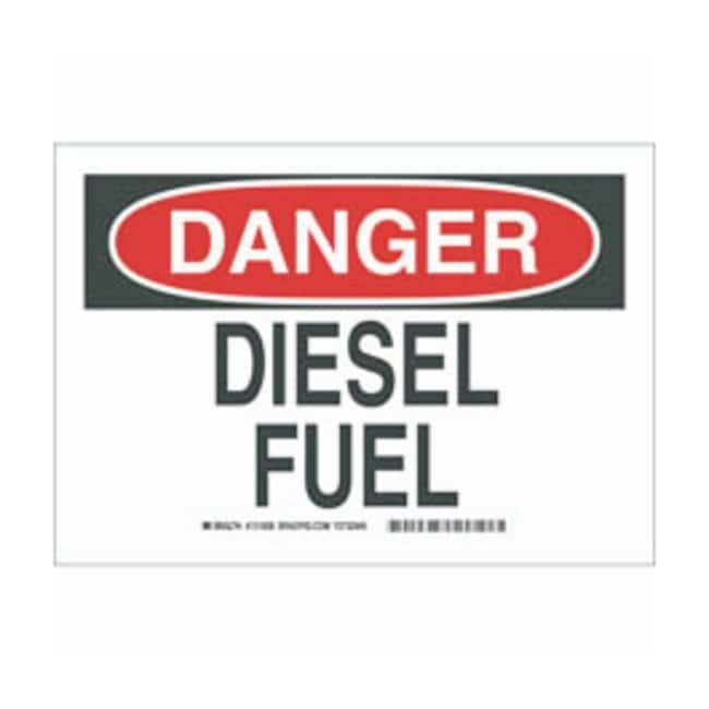 Brady Polystyrene Danger Sign: DIESEL FUEL Black/red on white; Non-adhesive;