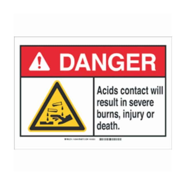 Brady Aluminum Danger Sign: ACID. CONTACT WILL RESULT IN SERIOUS BURNS,
