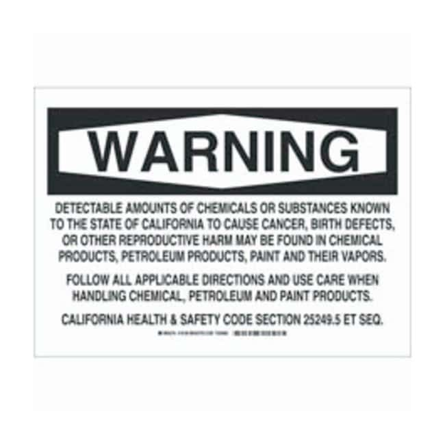 Brady Aluminum Warning Sign: DETECTABLE AMOUNTS OF CHEMICALS OR SUBSTANCES