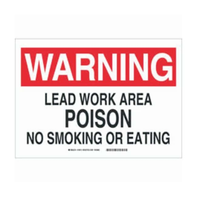 Brady Polystyrene Warning Sign: LEAD WORK AREA POISON NO SMOKING OR EATING