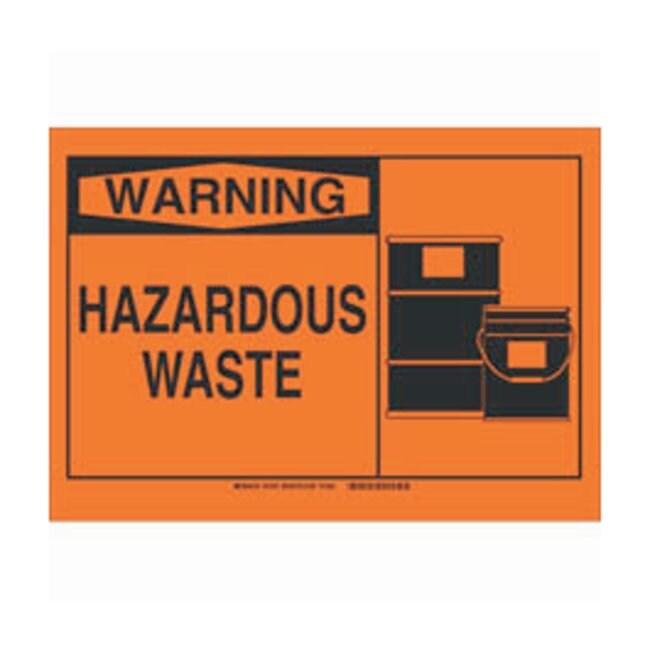 Brady Polystyrene Warning Sign: HAZARDOUS WASTE Black on orange; Non-adhesive;