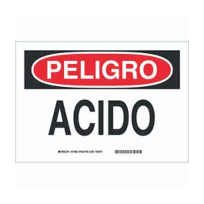 Brady Aluminum Peligro Sign: ACIDO Black/red on white; Non-adhesive; Corner