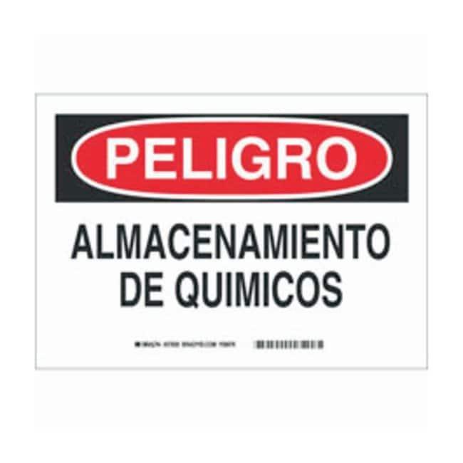 Brady Aluminum Peligro Sign: ALMACENAMIENTO DE QUIMICOS Black/red on white;