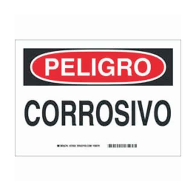 Brady Aluminum Peligro Sign: CORROSIVO:Gloves, Glasses and Safety:Facility