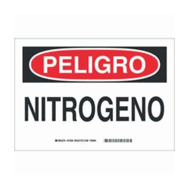 Brady Aluminum Peligro Sign: NITROGENO Black/red on white; Non-adhesive;
