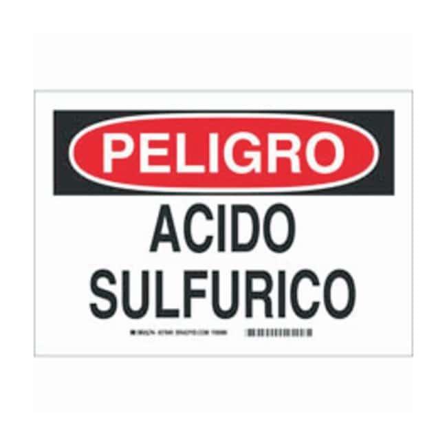 Brady Aluminum Peligro Sign: ACIDO SULFURICO Black/red on white; Non-adhesive;