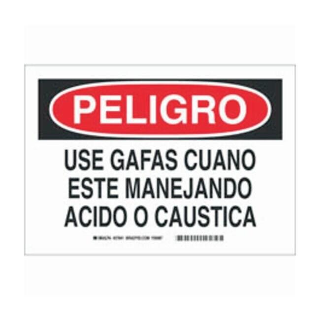 Brady Aluminum Peligro Sign: USE GAFAS CUANDO ESTE MANEJANDO ACIDO O CAUSTICA