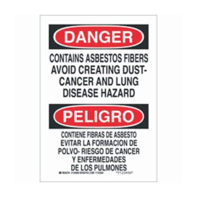 Brady Aluminum Danger/ Peligro Sign: CONTAINS ASBESTOS FIBERS AVOID CREATING