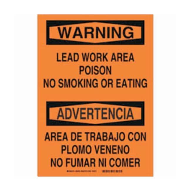 Brady Polystyrene Warning/ advertencia Sign: LEAD WORK AREA POISON NO SMOKING