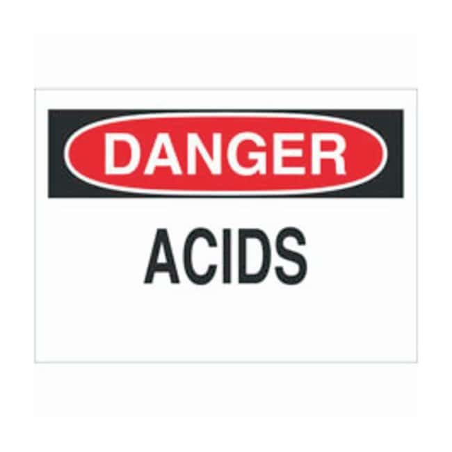 Brady Aluminum Danger Sign: ACIDS Black/red on white; Non-adhesive; Corner