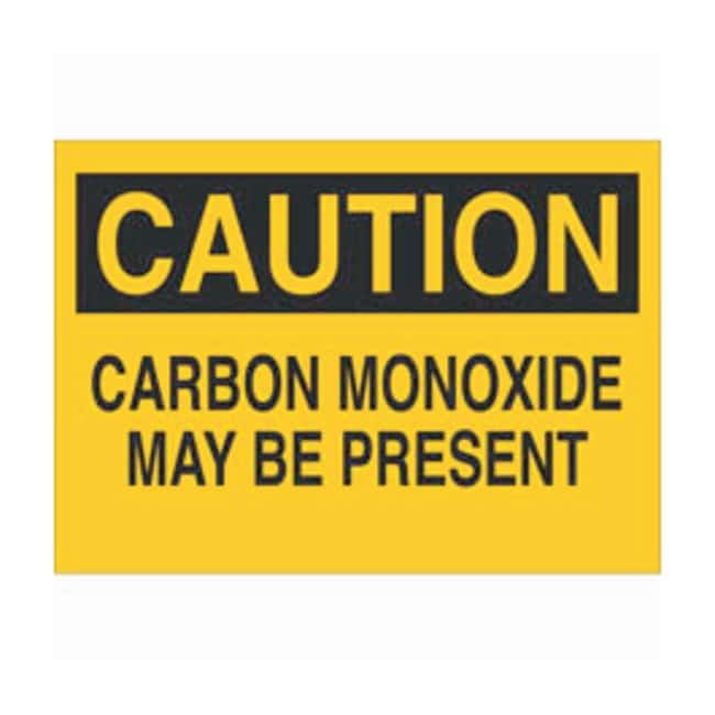 Brady Aluminum Caution Sign: CARBON MONOXIDE MAY BE PRESENT Black on yellow;