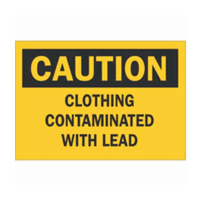 Brady Aluminum Caution Sign: CLOTHING CONTAMINATED WITH LEAD Black on yellow;