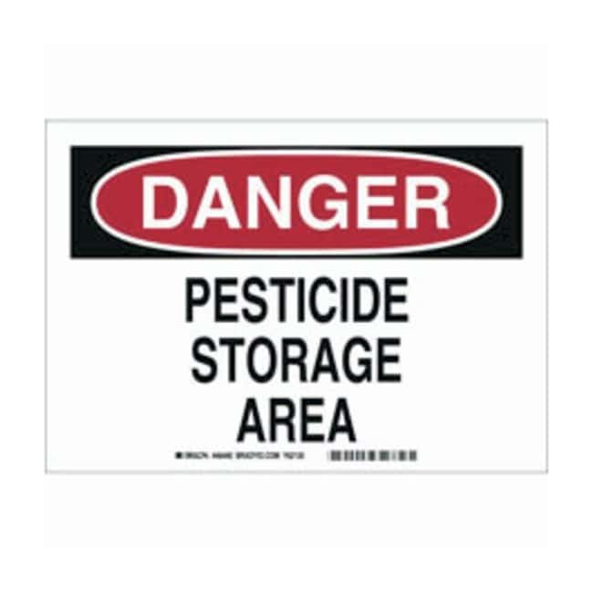 Brady Aluminum Danger Sign: PESTICIDE STORAGE AREA Black/red on white;