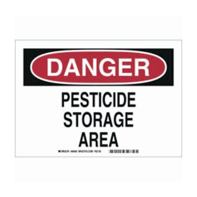 Brady Aluminum Danger Sign: PESTICIDE STORAGE AREA:Gloves, Glasses and