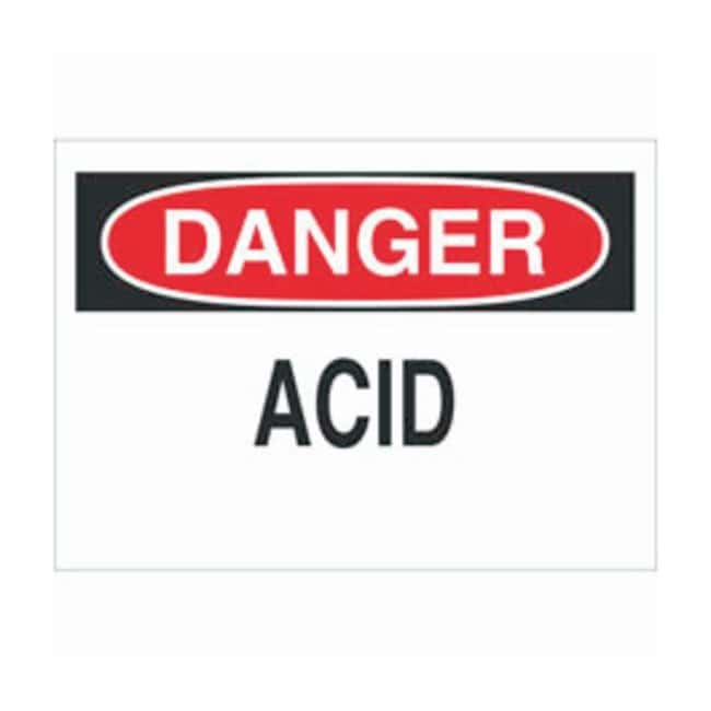 Brady Aluminum Danger Sign: ACID, black on red Black/red on white; Non-adhesive;